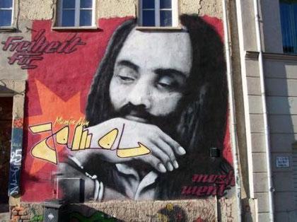 Free Mumia Abu-Jamal (husmur i Berlin)