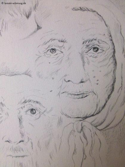 Die alte Frau mit Kopftuch