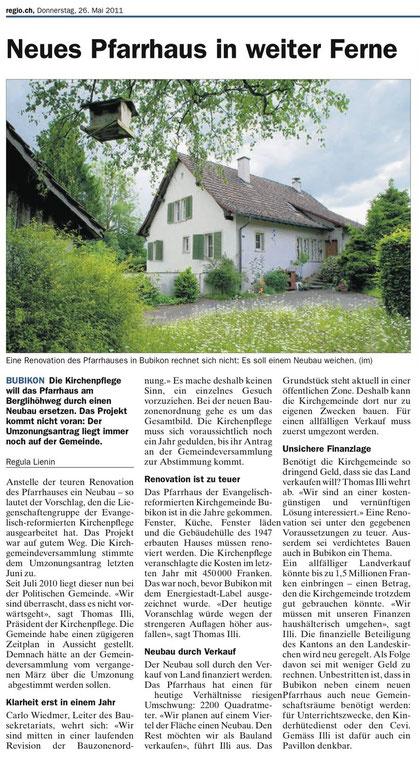 """""""regio.ch"""" vom 26. Mai 2011"""
