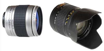 Nikon 28-80mm f/3.3-5.6 G (trái) và Nikon 28-200mm f/3.5-5.6 G (phải).