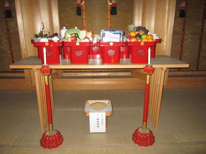 外陣に献供された大祭神饌