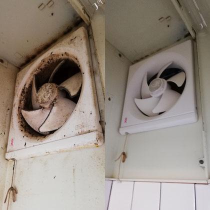 アパートの換気扇のハウスクリーニング前後の写真。