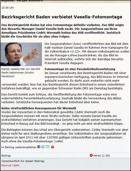 Das Verbot der Vasella-Fotomontage. Online-Beitrag von drs.ch (regionaljournal.ch).