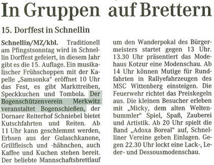 Artikel - 15.Schnelliner Dorffest - BSV Merkwitz