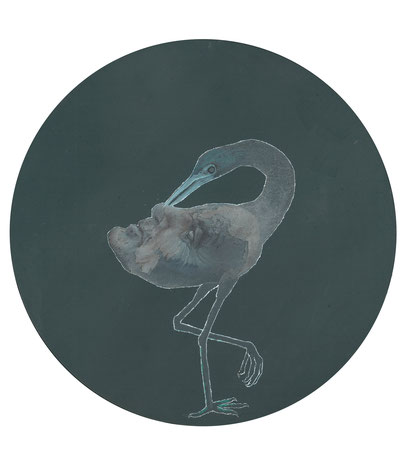 Der Vogel Selbsterkenntnis, Öl auf Leinwand, 30 cm Durchmesser, 2017
