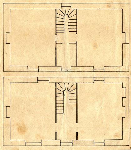 Vues en plan du rez-de-chaussée et de l'étage, l'escalier au centre distribue sur toutes les pièces chaque pièce a sa cheminée, la petite pièce donnant sur le balcon sera le Bureau de Michel Floch