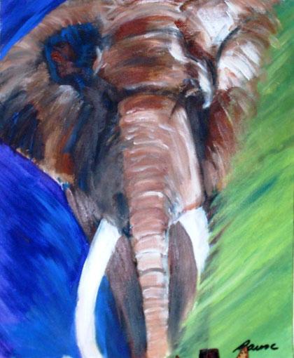 Eléphant émergeant (acrylique sur toile)