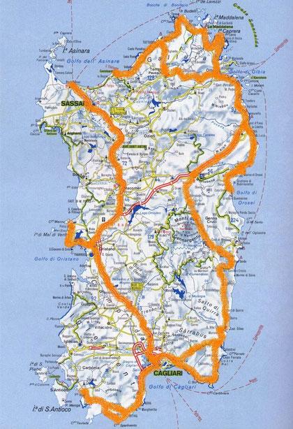 Sardinienkarte, Strassenkarte Sardinien, Routen Sardinien