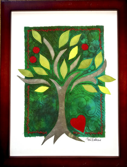 green tree with heart