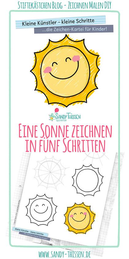 Sommer Sonne Sonnenschein malen zeichnen lernen für Kinder in Kita Kindergarten Schule Vorschule kostenlos downloaden Kinder Zeichenkartei Stiftekästchen Blog Sandy Thissen