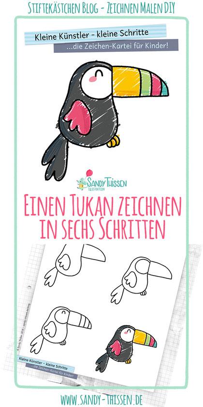Sommer Tukan Vogel malen zeichnen lernen für Kinder in Kita Kindergarten Schule Vorschule kostenlos downloaden Kinder Zeichenkartei Stiftekästchen Blog Sandy Thissen