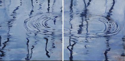 Wassertropfen je 50 x 50 Acryl auf Leinwand