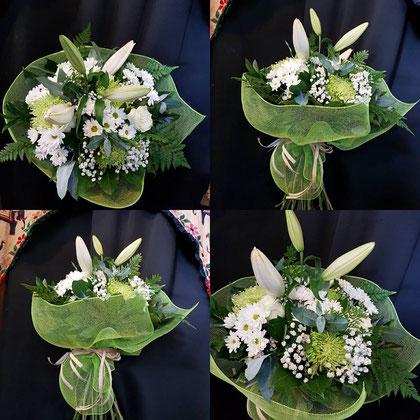 Ramo de flores variadas blancas y verdes. Ref R11
