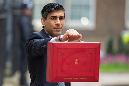 UK chancellor Rishi Sunak before giving his 2021 budget speech.