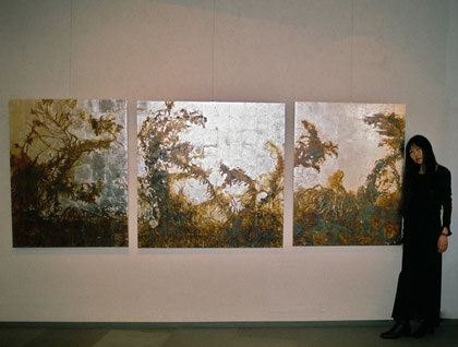 Withered field(Goldenrod) (Painting, Japanese paper, Silver leaf, Pigments, Glue)