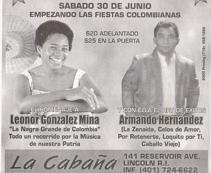 poster Armando Hernández en las fiestas colombianas EE.UU