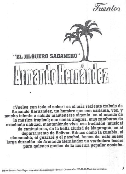 Armando Hernández el Jilguero Sabanero