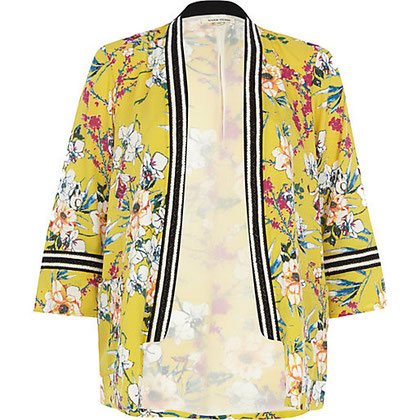 River Island Yellow Embellished Kimono