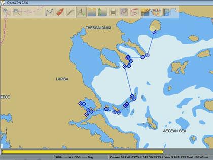Routenplanung für Eva - Tassos nach Volos