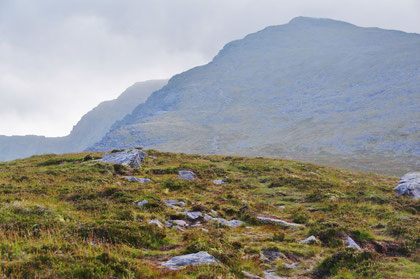 逆時計回りでCoomloughra馬蹄形縦走ルートを行く。アイルランド標高第3位の「Caher山」まで再びだらだら坂が続きます。