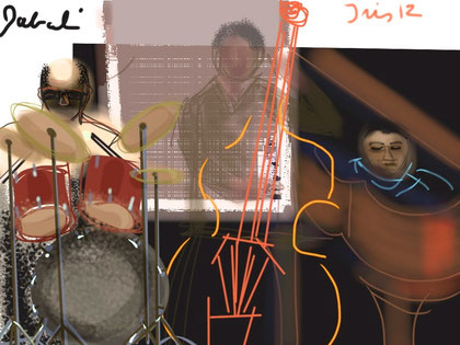 iPadJAZZart, jam session, last night at Healdsburg Jazz Festival, Hotel Healdsburg, Vijay Iyer, piano, Lorca Hart, drums, autographed by Lorca Hart