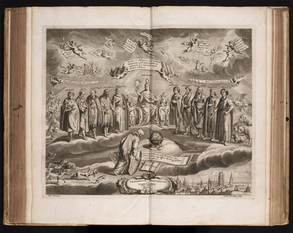 """Illustration du livre """"Prodromus Astronomiae"""". (Photographie M. Vidal, 2009)."""