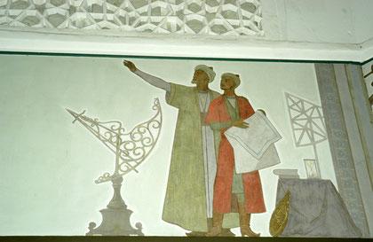 Illustration de l'observation du ciel par Ulugh Beg et al-Kuschchi, d'après une fresque murale du Musée de l'Observatoire (photo: M.Schvoerer, 2008).