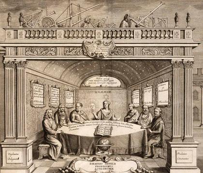 """Autre illustration du livre """"Prodromus Astronomiae""""  figurant Hevelius à gauche, en compagnie des astronomes Prince Hass, Ulugh Beg, Ptolémée, Tycho Brahe et Riccioli, assis autour d'Uranie . (Photographie M. Vidal, 2009)."""