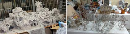 Maquettes en plâtre et en fil de fer du Colossal d'Art brut