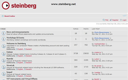 Excellent support from the Steinberg,net Forums