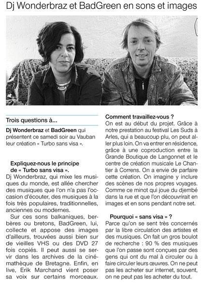 Ouest France / Brest / 19-20 novembre 2011 - Frédérique Guiziou