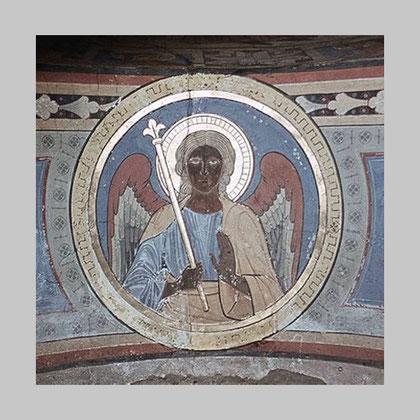 Durch Bombardierung im zweiten Weltkrieg zerstörte romanische Malerei der Kirche St. Patrokli in Soest.