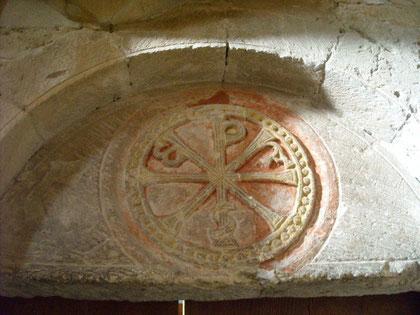 Detalle de Crismón en la Colegiata de San Isidoro de León, S XI-XII