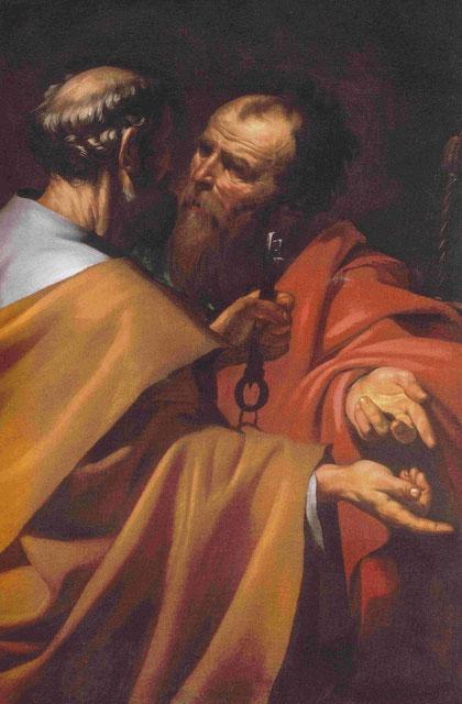 San Pedro y San Pablo,1612,Inglaterra,colección particular.Gran novedad iconográfica al presentar a los apostoles en tres cuartos,pertenece a su actividad temprana romana,equilibrio clásico y energia interior contenida.
