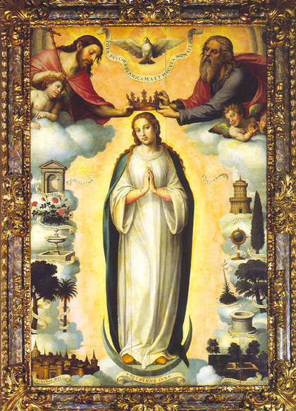 Primera pintura conocida de la Inmaculada Concepción, Juan de Juanes, SXVI, Iglesia de la Compañía, Valencia.
