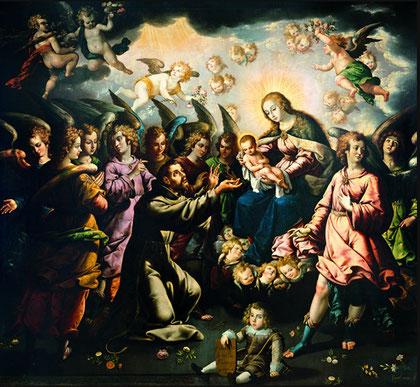 José Juarez (novohispano 1617-1662),La aparición de la Virgen y el Niño a San Francisco. Museo Nacional de Arte, Méjico