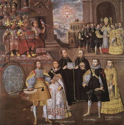 Anónimo. Unión de la descendencia imperial incaica con la casa de los Loyola y Borgia, 1718. Museo Pedro de Osma,Lima, Perú.