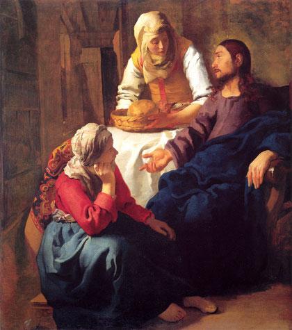Jesús en casa de Marta y María, Johannes Vermeer,1655