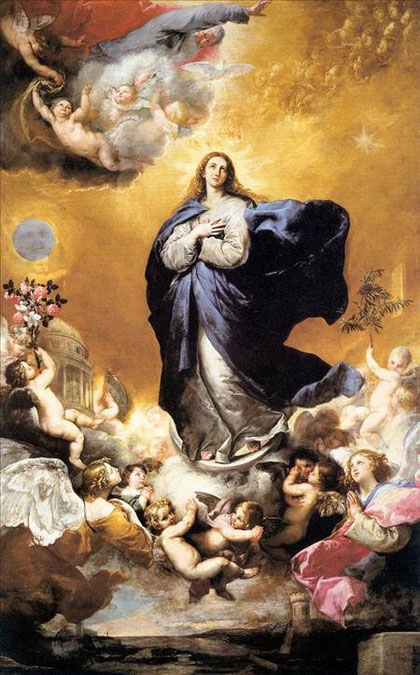 José Ribera (1591-1652) pintó esta Inmaculada Concepción para el retablo mayor de la Iglesia de las Agustinas de Salamanca, encargada en 1635 por el Conde de Monterrey,( Virrey de Nápoles)