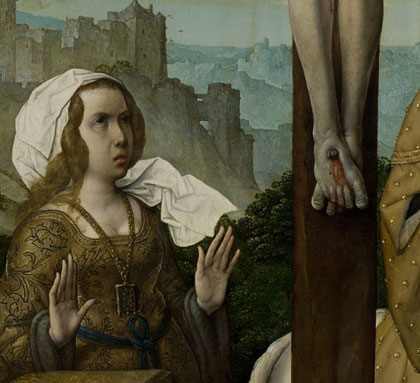 Crucifixión. Juan de Flandes.  Detalle