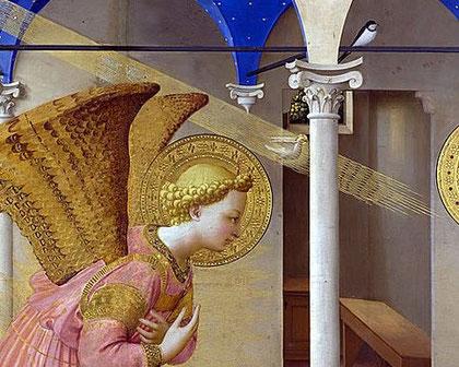 """Detalle Anunciación de Fra Angélico.SXV Museo del Prado ¿Acaso la golondrina sea el único testigo? Podría anticipar """"la primavera mística que traerá Jesus."""