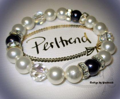www.perltrend.com Armschmuck weiss blau crystal pearls marine Perlen Perltrend Bracelet Schmuck Luzern Armschmuck Onlineshop Schweiz