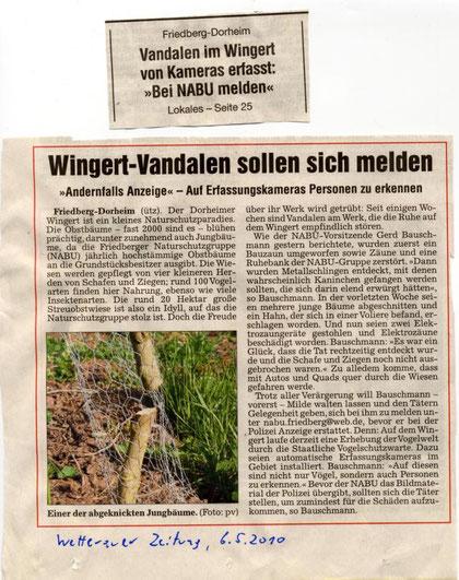 Vandalismus auf Dorheimer Wingert