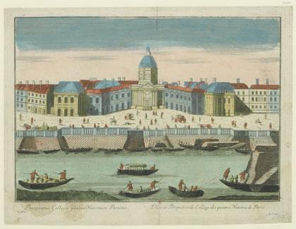 Veüe et Perspective du Collège des quatres Nations, Paris 1750, BnF, département Estampes et Photographie © Source gallica.bnf.fr