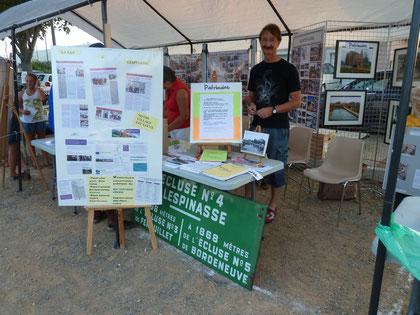 Plaque émaillée de l'écluse de Lespinasse exposée lors du forum des associtaions à Lespinasse, le 10 Septembre 2011.