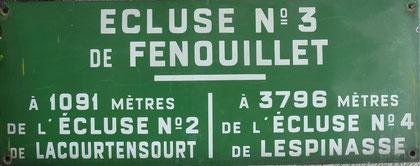 Plaque émaillée de l'écluse de Fenouillet N°3 (Fenouillet).