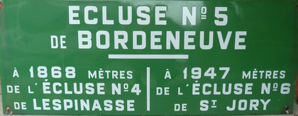 Plaque émaillée de l'écluse de Bordeneuve  N°5.