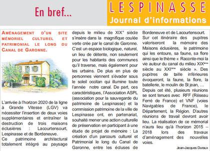 Maquette de l'article qui paraîtra dans l'Info Ville de Lespinasse Février 2012.