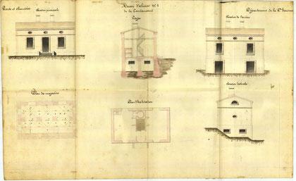 Plan de la maison éclusière de Lacourtensourt  N°2.