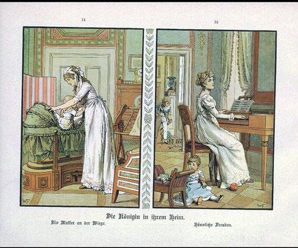 家庭での王妃ルイーゼ、ゆりかごとピアノ演奏(パウル・キッテル1896年)